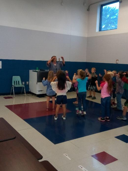 The chicken dance with Mrs. Collins!