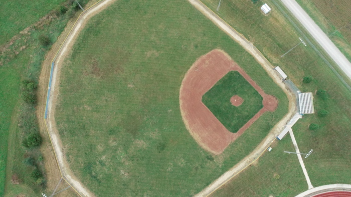 Bird's eye-view of our Baseball Field taken during flight.